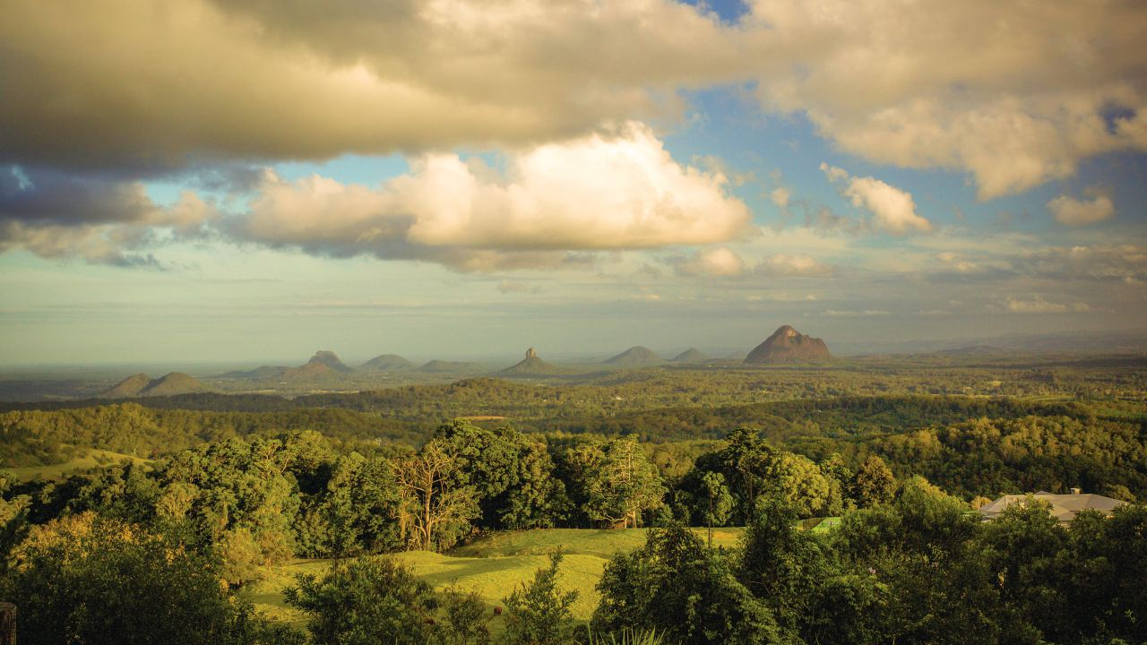 Glasshouse Mountains from Mary Cairncross Scenic Reserve - Coast to Hinterland Tours
