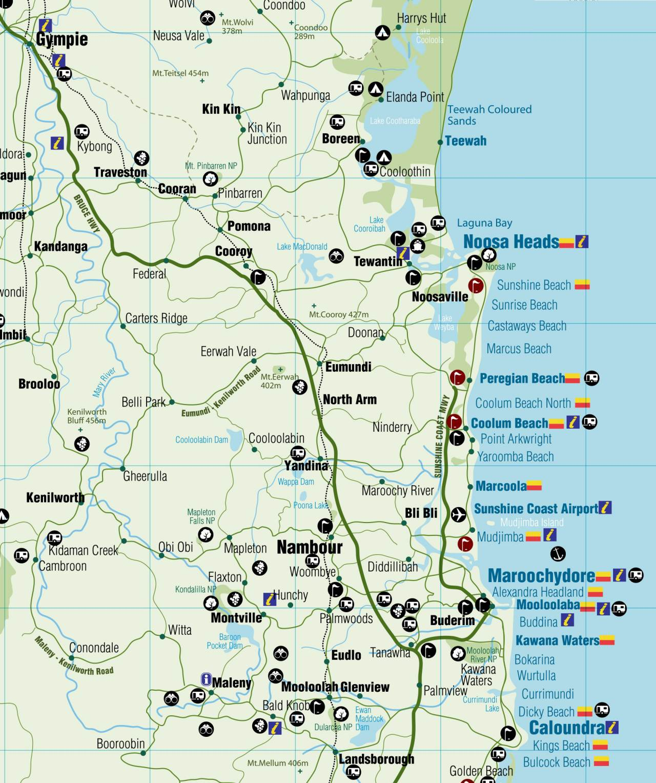 Map of the Sunshine Coast Region - Coast to Hinterland Tours