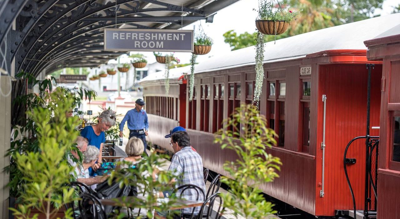 Gympie Day Tours, View along platform of historic Gympie Railway Station - Coast to Hinterland Tours