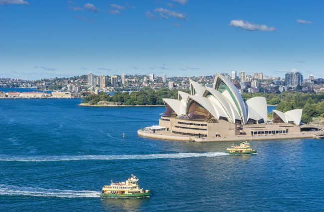 Aerial view of Sydney Harbour, Opera House and ferries