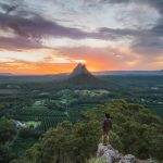 Sunset over Glasshouse Mountains